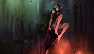 Rating: Safe Score: 543 Tags: black_hair blueman demon horns long_hair original skull succubus User: opai