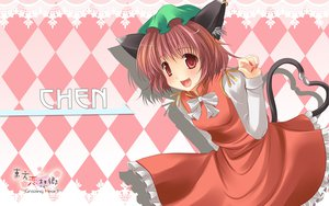 Rating: Safe Score: 23 Tags: animal_ears brown_hair catgirl chen dress fang hat red_eyes ribbons tail touhou User: korokun