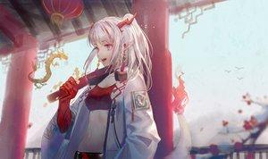 Rating: Safe Score: 60 Tags: arknights dragon horns ji_dao_ji long_hair nian_(arknights) pointed_ears purple_eyes tail white_hair User: BattlequeenYume