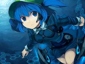 Rating: Safe Score: 101 Tags: blue_eyes blue_hair hat headphones kawashiro_nitori kitsune_(artist) touhou underwater water User: pantu