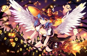 Rating: Safe Score: 167 Tags: aqua_hair bow breasts candy cleavage collar halloween hat kneehighs music original pumpkin shorts squadra thighhighs watermark wings witch_hat wristwear yellow_eyes User: luckyluna