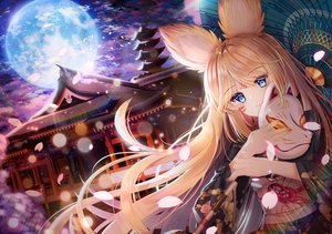 Rating: Safe Score: 81 Tags: blonde_hair blue_eyes building cherry_blossoms clouds ecu8080 japanese_clothes kimono long_hair mask moon night original sky umbrella User: luckyluna