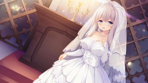 Rating: Safe Score: 75 Tags: blue_eyes game_cg kimihara_yua mikagami_mamizu pieces_/_yurikago_no_canaria wedding_attire whirlpool white_hair User: Arsy