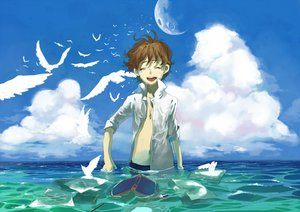 Rating: Safe Score: 30 Tags: all_male animal bird book brown_hair clouds kyouichi male moon necklace original paper sky tears water User: STORM