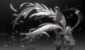 Rating: Safe Score: 51 Tags: blonde_hair boots choker feathers hoodie isaac_foster long_hair male polychromatic rachel_gardner reflection satsuriku_no_tenshi scythe short_hair tidsean weapon wings User: mattiasc02