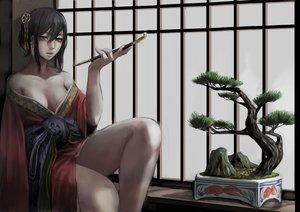 Rating: Safe Score: 142 Tags: black_hair breasts cleavage green_eyes japanese_clothes jittsu kimono no_bra original smoking tree User: Flandre93