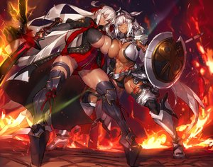 Rating: Safe Score: 45 Tags: 2girls armor breasts caenis_(fate) cleavage dark_skin fate/grand_order fate_(series) melon22 sakura_saber sakura_saber_alter weapon User: FormX