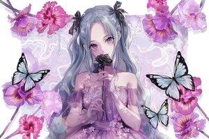 Rating: Safe Score: 97 Tags: aqua_hair butterfly dress flowers long_hair magako original purple_eyes tears twintails wristwear User: BattlequeenYume