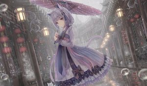 Rating: Safe Score: 90 Tags: aliasing animal animal_ears apple228 building cat catgirl chinese_clothes city lolita_fashion original purple_hair rain tail umbrella water User: BattlequeenYume