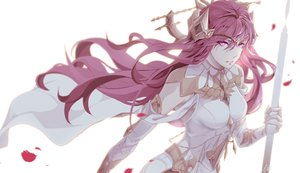 Rating: Safe Score: 3 Tags: armor dow dress headdress karin_(seven_knights) long_hair petals pink_eyes pink_hair seven_knights signed staff waifu2x white User: otaku_emmy
