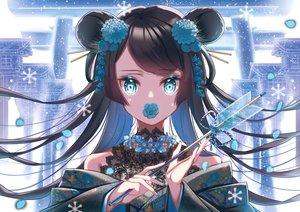 Rating: Safe Score: 51 Tags: aqua_eyes bell black_hair flowers ktmzlsy720 long_hair original petals torii twintails User: RyuZU