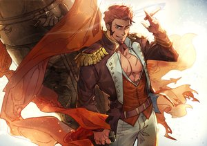 Rating: Safe Score: 11 Tags: all_male aqua_eyes fate/grand_order fate_(series) hermithessa male napoleon_(fate/grand_order) open_shirt red_hair short_hair signed smoking wink User: otaku_emmy