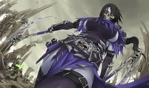 Rating: Safe Score: 280 Tags: akali black_hair breasts cosplay darksiders darksiders_2 exaxuxer league_of_legends long_hair mask scythe skull weapon yellow_eyes User: opai