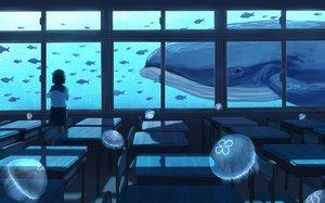 Rating: Safe Score: 65 Tags: animal fish gensuke monochrome original seifuku short_hair skirt User: RyuZU
