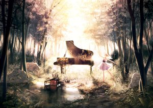 Rating: Safe Score: 157 Tags: dress forest instrument leaves original piano siro tree User: opai