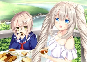 Rating: Safe Score: 36 Tags: 2girls aqua_eyes artoria_pendragon_(all) blonde_hair blush breasts cake cleavage dress drink fate/grand_order fate_(series) food glasses gray_hair long_hair marie_antoinette_(fate/grand_order) mysterious_heroine_x mysterious_heroine_x_alter school_uniform summer_dress tagme_(artist) twintails User: luckyluna