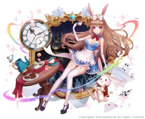 Rating: Safe Score: 123 Tags: alice_in_wonderland alice_(wonderland) ango animal_ears apron bow breasts brown_hair bunny bunny_ears cleavage dress food garter kaku-san-sei_million_arthur long_hair purple_eyes stockings watermark white_rabbit User: FormX