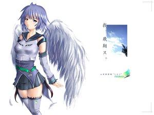 Rating: Safe Score: 18 Tags: anthropomorphism blue_eyes blue_hair c-wing e3_tsubasa jpeg_artifacts logo short_hair skirt thighhighs white wings User: Oyashiro-sama