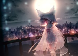 Rating: Safe Score: 106 Tags: animal_ears building city clouds dress futoshi_ame long_hair moon night original red_eyes see_through sky tail User: BattlequeenYume