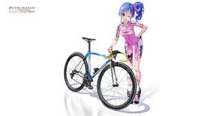 Rating: Safe Score: 52 Tags: aikatsu! bicycle bike_shorts blue_hair gloves hitomi_kazuya kiriya_aoi ponytail shorts skintight third-party_edit watermark white wink User: gnarf1975