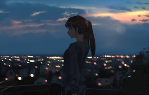 Rating: Safe Score: 105 Tags: brown_hair building city litra long_hair original ponytail scenic silhouette sunset User: RyuZU