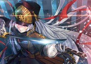 Rating: Safe Score: 90 Tags: animal gloves gray_hair gunpuku_no_himegimi hat horse military re:creators red_eyes ribbons signed sword tagme_(artist) uniform weapon User: RyuZU