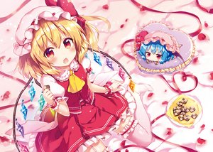 Rating: Safe Score: 32 Tags: 2girls blonde_hair blue_hair blush chibi flandre_scarlet food garter hat heart red_eyes remilia_scarlet ribbons riichu skirt stockings touhou vampire waifu2x wings User: 蕾咪