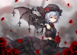 Rating: Safe Score: 72 Tags: blue_hair cross dress elbow_gloves flowers gloves goth-loli hat lolita_fashion red_eyes remilia_scarlet rose shironeko_yuuki short_hair touhou vampire wings User: BattlequeenYume