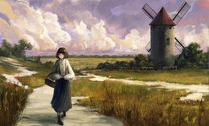Rating: Safe Score: 36 Tags: clouds dress fjsmu grass necklace original scenic short_hair windmill User: FormX