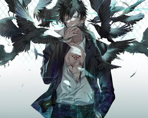 Rating: Safe Score: 55 Tags: all_male animal bird cropped ekita_xuan gradient gun kougami_shinya male polychromatic psycho-pass smoking weapon User: mattiasc02
