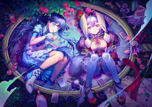 Rating: Safe Score: 46 Tags: 2girls alice_in_wonderland alice_(wonderland) animal_ears aqua_eyes blue_hair boots bow bunny_ears bunnygirl cake dress drink flowers food gloves lolita_fashion long_hair original panties pantyhose pink_eyes pink_hair rose tail underwear user_shinra white_rabbit wristwear User: Dreista