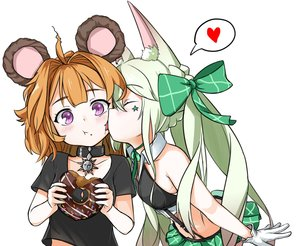 Rating: Safe Score: 67 Tags: 2girls animal_ears anthropomorphism art556_(girls_frontline) blush bow choker flat_chest food girls_frontline gloves grizzly_mkv_(girls_frontline) heart loli long_hair orange_eyes pelican_(s030) purple_eyes short_hair shoujo_ai skirt white User: otaku_emmy