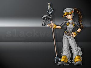 Rating: Safe Score: 6 Tags: anthropomorphism gray juzo-kun linux os-tan slackware spear weapon User: Kulag