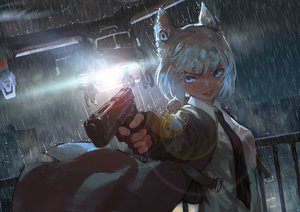 Rating: Safe Score: 92 Tags: aircraft animal_ears blue_eyes building city gloves gun jun_(5455454541) night original rain short_hair water weapon white_hair User: SciFi