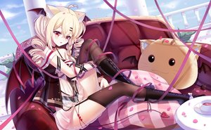 Rating: Safe Score: 41 Tags: animal_ears blonde_hair clouds couch drink garter_belt golden_goblin7 long_hair see_through sky stockings tagme_(character) tail twintails wings User: BattlequeenYume