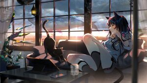 Rating: Safe Score: 82 Tags: animal aruterra black_hair cat catgirl clouds computer couch drink headphones long_hair original phone sky sunset tail User: BattlequeenYume