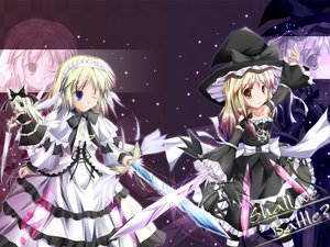 Rating: Safe Score: 34 Tags: alice_margatroid blonde_hair doll dress gothic green_eyes kirisame_marisa long_hair mage purple_eyes ribbons shanghai_doll short_hair sword touhou weapon wings witch yellow_eyes zoom_layer User: Oyashiro-sama