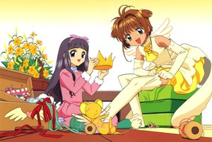 Rating: Safe Score: 6 Tags: 2girls black_hair blue_eyes brown_hair card_captor_sakura clamp crown daidouji_tomoyo elbow_gloves flowers gloves gradient green_eyes kero kinomoto_sakura long_hair ribbons scan short_hair thighhighs User: RyuZU