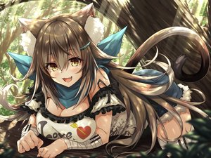 Rating: Safe Score: 74 Tags: animal_ears bandage blush breasts brown_hair catgirl cat_smile cleavage fang forest hasumi_(hasubatake39) long_hair original shorts tail tree yellow_eyes zettai_ryouiki User: BattlequeenYume