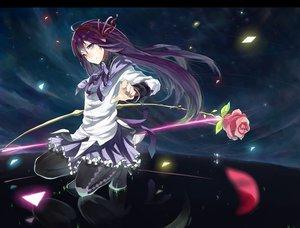 Rating: Safe Score: 89 Tags: akemi_homura flowers kame^^ mahou_shoujo_madoka_magica purple_eyes purple_hair ribbons rose User: HawthorneKitty