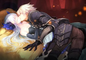 Rating: Safe Score: 103 Tags: armor bed breasts cleavage corset dress elbow_gloves gin_(oyoyo) gloves gwendolyn headdress kiss long_hair male odin_sphere oswald short_hair white_hair User: FormX