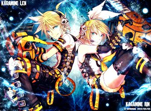 Rating: Safe Score: 52 Tags: blonde_hair blue_eyes boots chainsaw headphones kagamine_len kagamine_rin kei-suwabe male short_hair thighhighs tie vocaloid weapon User: opai