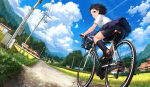 Rating: Safe Score: 29 Tags: ass bicycle bike_shorts black_hair brown_eyes building city clouds grass kneehighs lif_(lif-ppp) original scenic school_uniform short_hair shorts skirt sky User: RyuZU