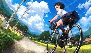 Rating: Safe Score: 23 Tags: ass bicycle bike_shorts black_hair brown_eyes building city clouds grass kneehighs lif_(lif-ppp) original scenic school_uniform short_hair shorts skirt sky User: RyuZU