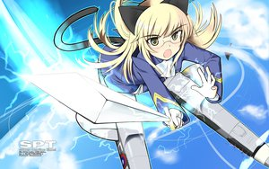 Rating: Safe Score: 15 Tags: animal_ears blonde_hair catgirl glasses long_hair perrine-h_clostermann skirt strike_witches sword tail weapon yellow_eyes User: HawthorneKitty
