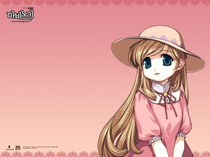 Rating: Safe Score: 6 Tags: blonde_hair dress green_eyes hat ibbie long_hair mabinogi pink User: Oyashiro-sama