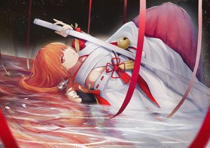 Rating: Safe Score: 37 Tags: bell code:_d-blood japanese_clothes katana long_hair marumoru miko orange_hair red_eyes ribbons sword uesugi_eri water weapon User: sadodere-chan