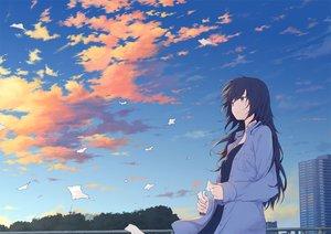 Rating: Safe Score: 94 Tags: black_hair building clouds long_hair original paper ryuga_(balius) shirt sky User: RyuZU