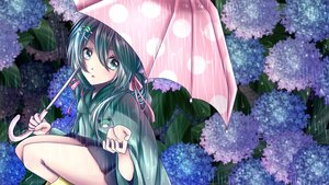 Rating: Safe Score: 14 Tags: aliasing cape flowers green_eyes green_hair hatsune_miku hoodie leaves long_hair rain skirt tagme_(artist) twintails umbrella vocaloid water User: kyxor