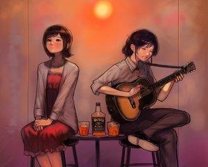 Rating: Safe Score: 30 Tags: 2girls amami_haruka bukimi_isan cropped dress drink guitar idolmaster instrument kisaragi_chihaya shirt User: mattiasc02
